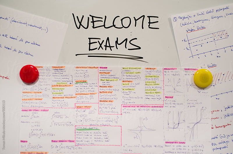 Whiteboard with sign about exams by Tomas Mikula for Stocksy United