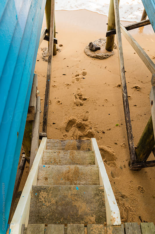 stairs to the beach between bathing huts by Gillian Vann for Stocksy United