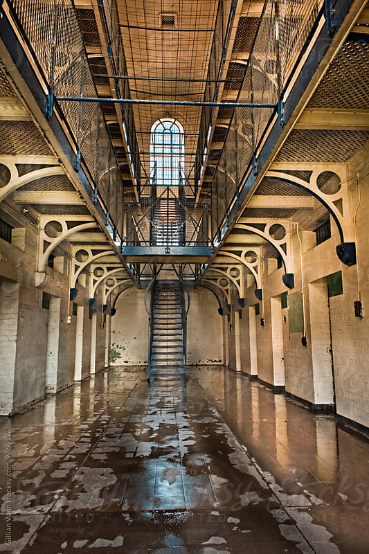 interior of an old jail, no longer in use by Gillian Vann for Stocksy United