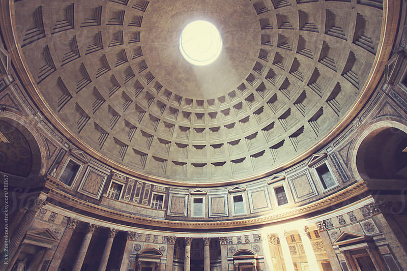 A ray of sunlight coming through the Pantheon's oculus. by Kaat Zoetekouw for Stocksy United