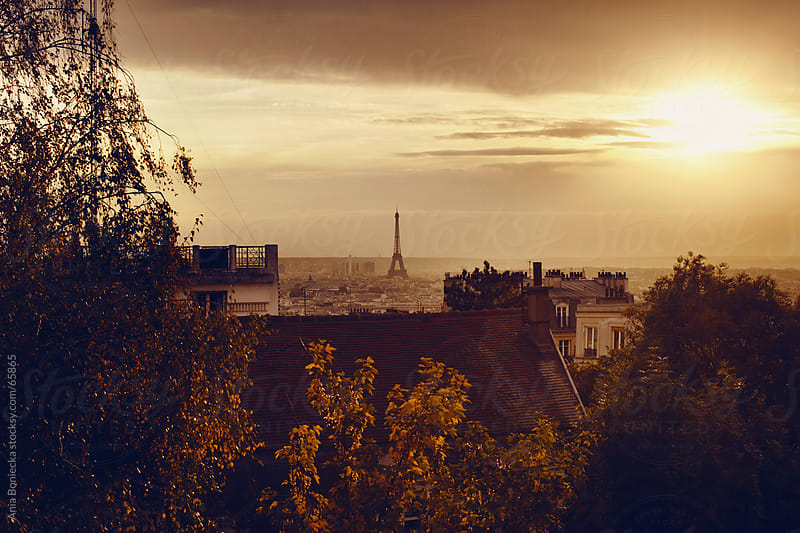 View of Paris, France and Eiffel tower at sunset by Ania Boniecka for Stocksy United