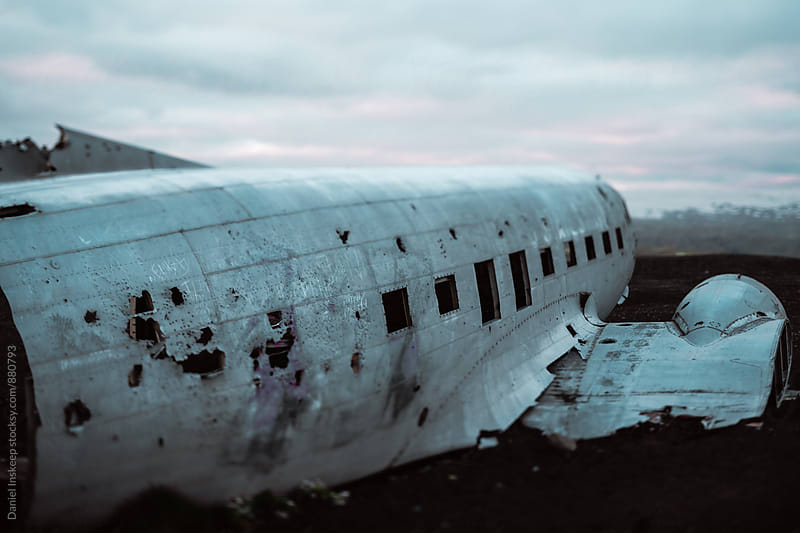 Plane Wreckage in Iceland on Black Sand Beach by Daniel Inskeep for Stocksy United