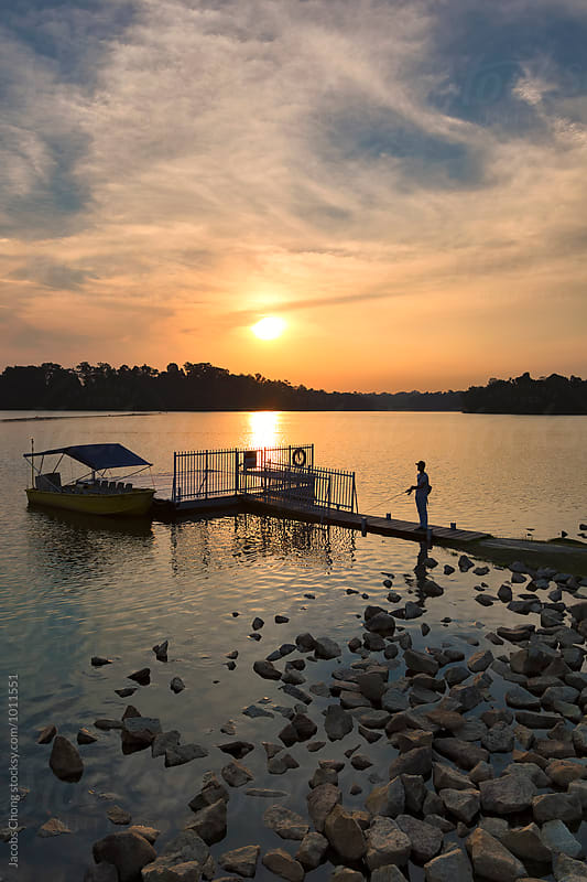 Lower Pierce Reservoir Sunset by Jacobs Chong for Stocksy United