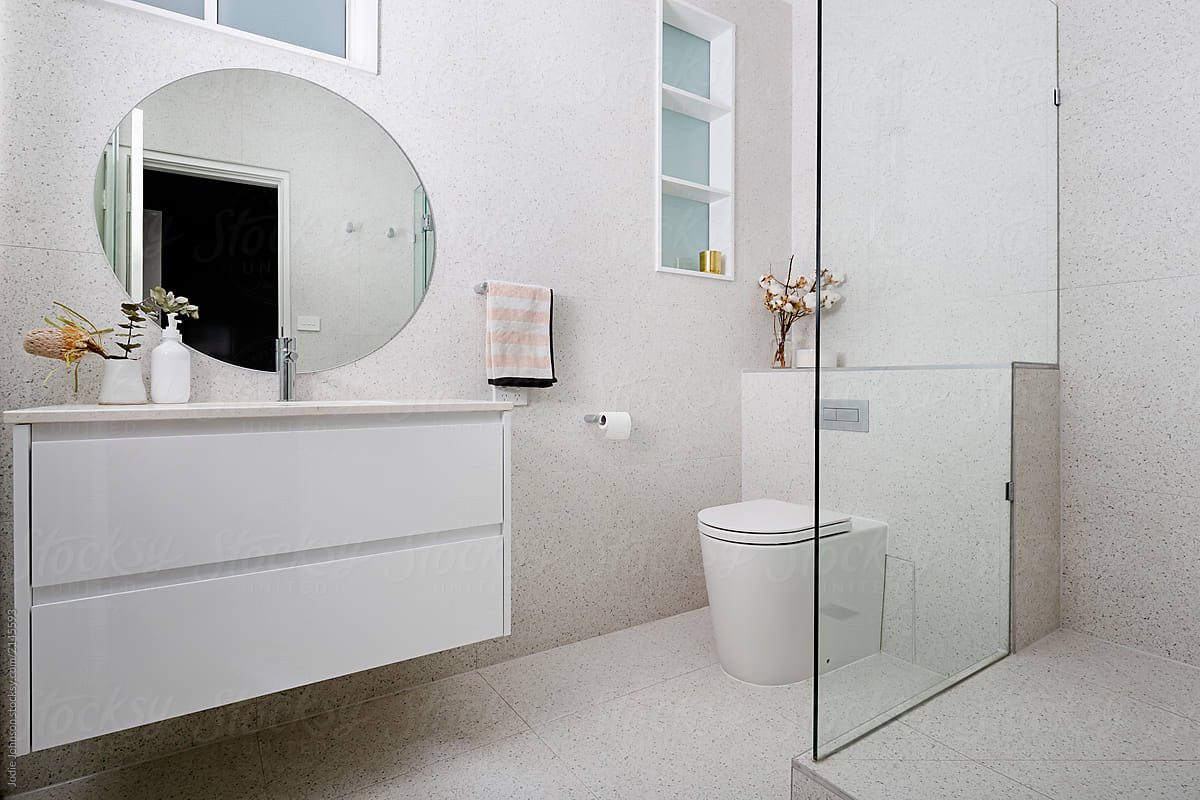 Terrazzo Tiled Bathroom With Round Mirror By Jodie Johnson