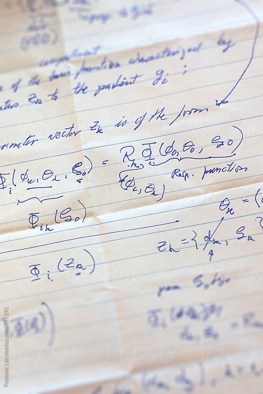 PhD level mathematics on a notepaper by Per Swantesson for Stocksy United