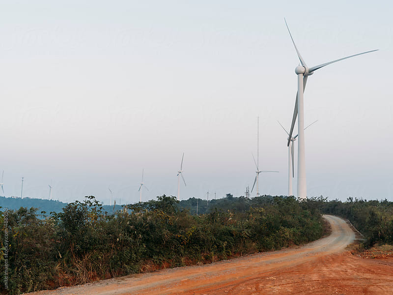 wind turbines on the top of mountain by unite images for Stocksy United