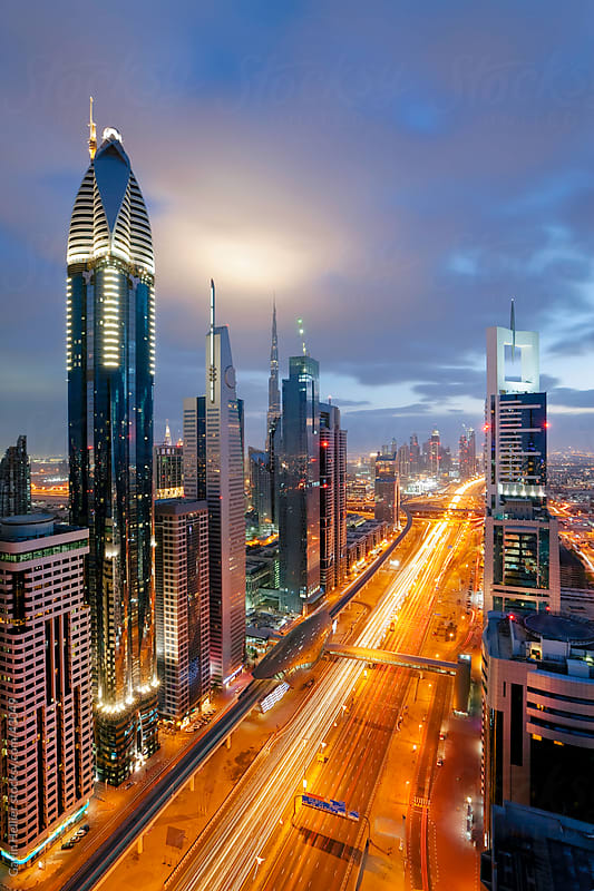 City skyline view over Dubai, United Arab Emirates by Gavin Hellier for Stocksy United
