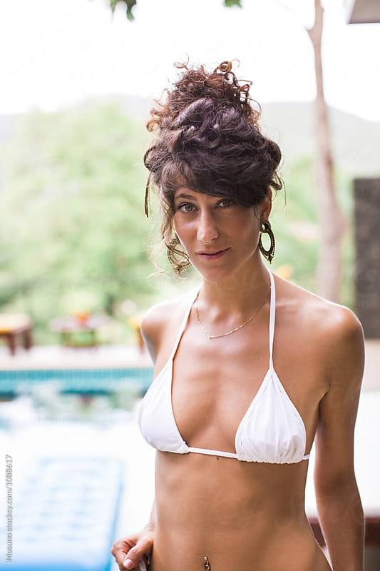 Portrait of a Woman in White Bikini by Mosuno for Stocksy United