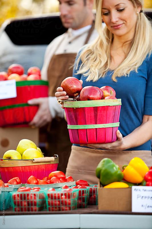 Farmer's Market: Focus on Basket of Fresh Apples by Sean Locke for Stocksy United