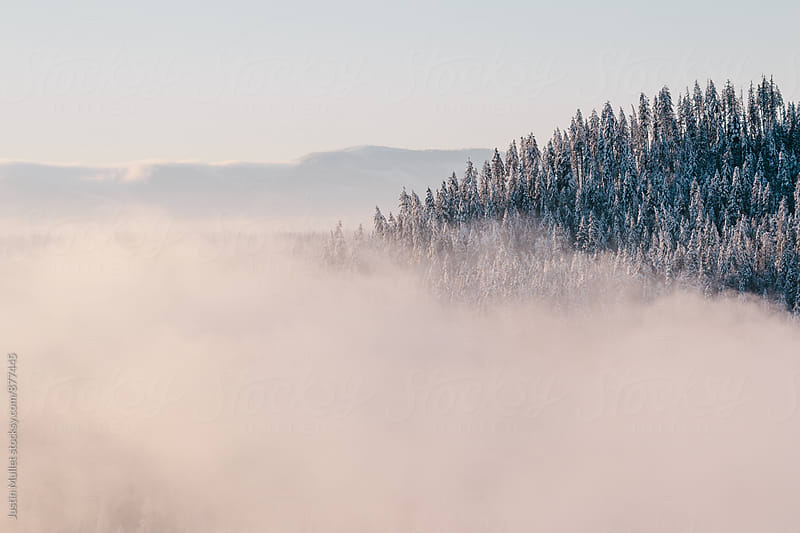 Fog creating an abstract mountain landscape on a sunny morning by Justin Mullet for Stocksy United