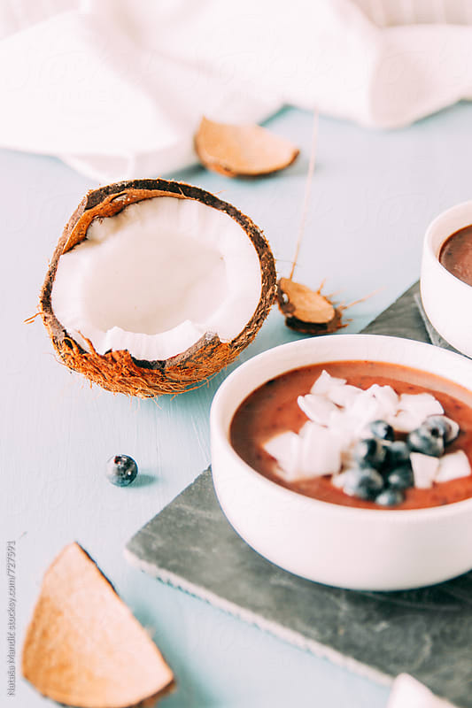 Healthy breakfast with fruit by Nataša Mandić for Stocksy United