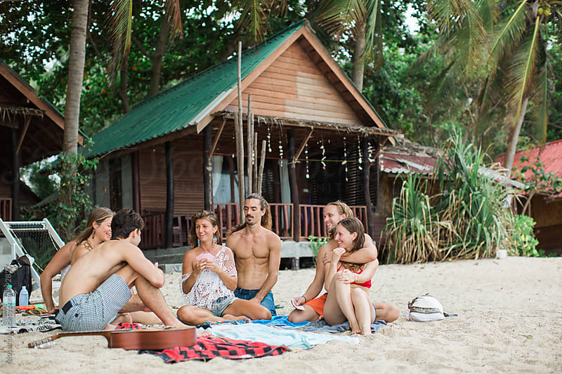 Friends at the Beach Playing Cards by Mosuno for Stocksy United