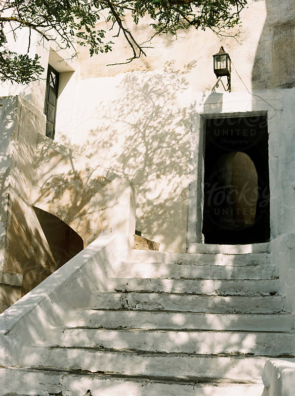 Doorway and steps in Santorini, Greece by Kirstin Mckee for Stocksy United