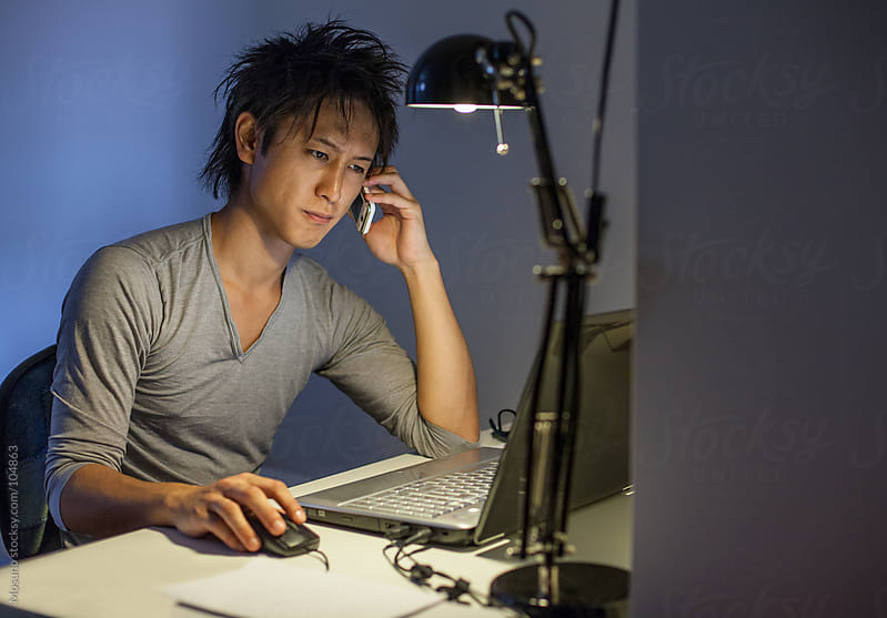 Student Working Late at Home by Mosuno for Stocksy United