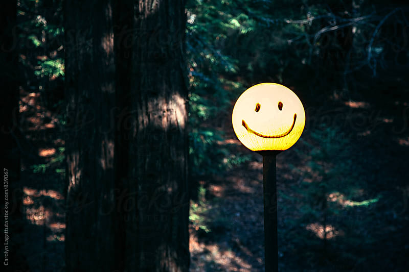 Smiley face painted on a yellow light in the forest by Carolyn Lagattuta for Stocksy United