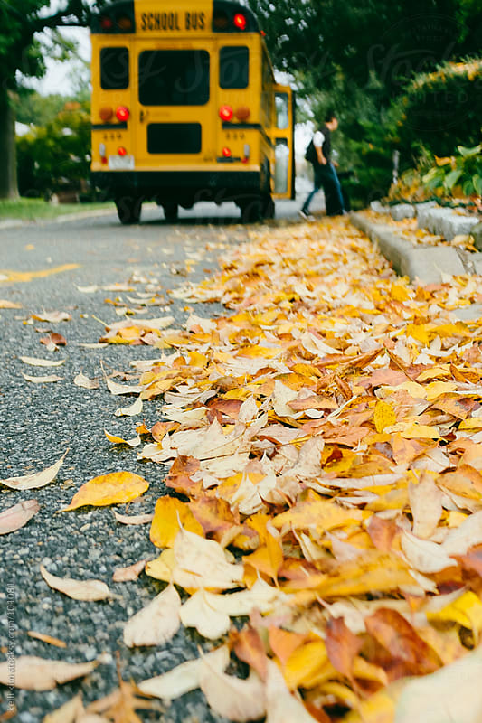 Male Student Exits School Bus On Autumn Leaf Covered Street by kelli kim for Stocksy United