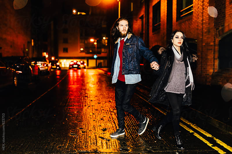 Young Couple Portrait in the City Traffic by HEX . for Stocksy United