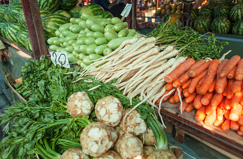 Fresh vegetables on a market. by Mosuno for Stocksy United