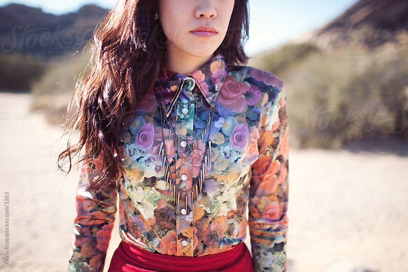 Floral Shirt Desert Woman by Kevin Russ for Stocksy United