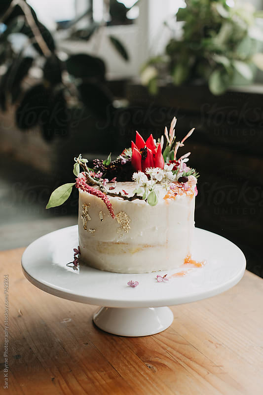 Floral Cake by Sara K Byrne Photography for Stocksy United