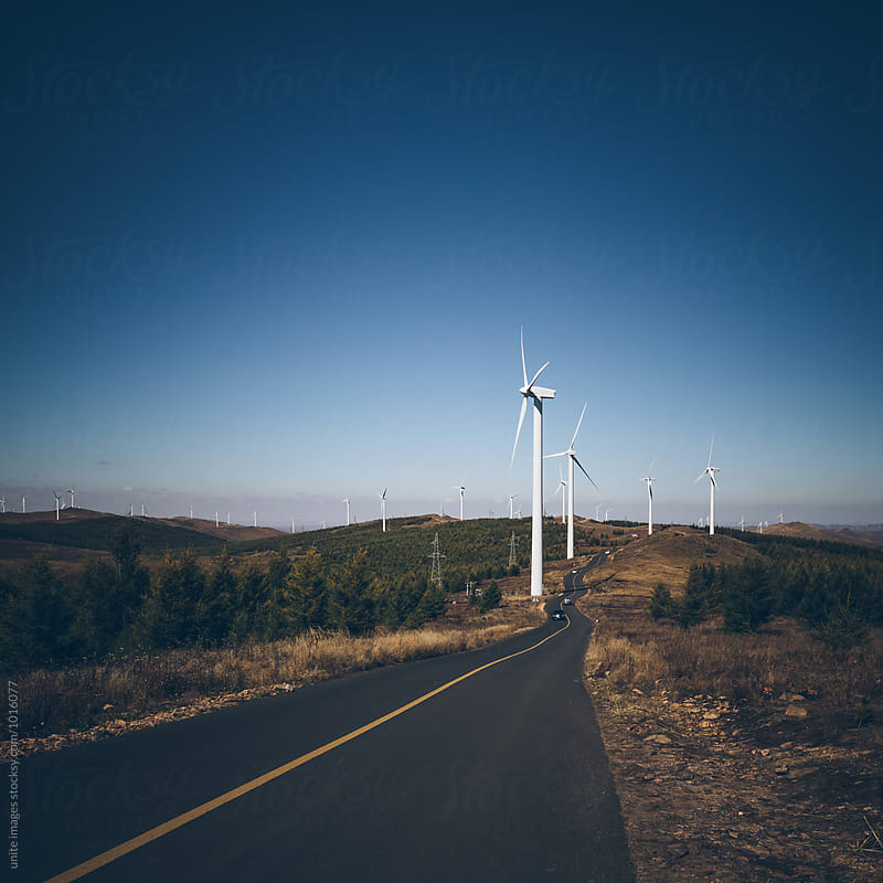 asphalt road and windmills roadside by unite images for Stocksy United