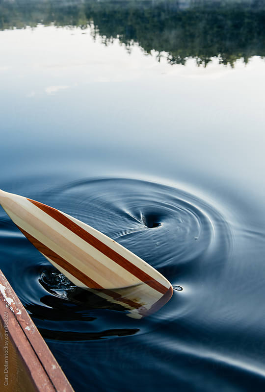 Paddle of a canoe creates ripples in the still early morning water of a lake by Cara Dolan for Stocksy United