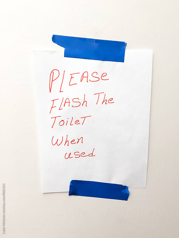 Please Flash The Toilet When Used by Luke Mattson for Stocksy United