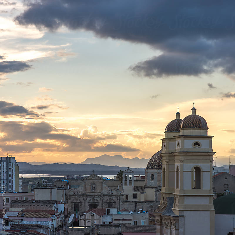 Cagliari at sunset, Italy by Luca Pierro for Stocksy United