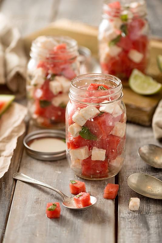 Watermelon Feta Salad in Mason Jars by Jeff Wasserman for Stocksy United