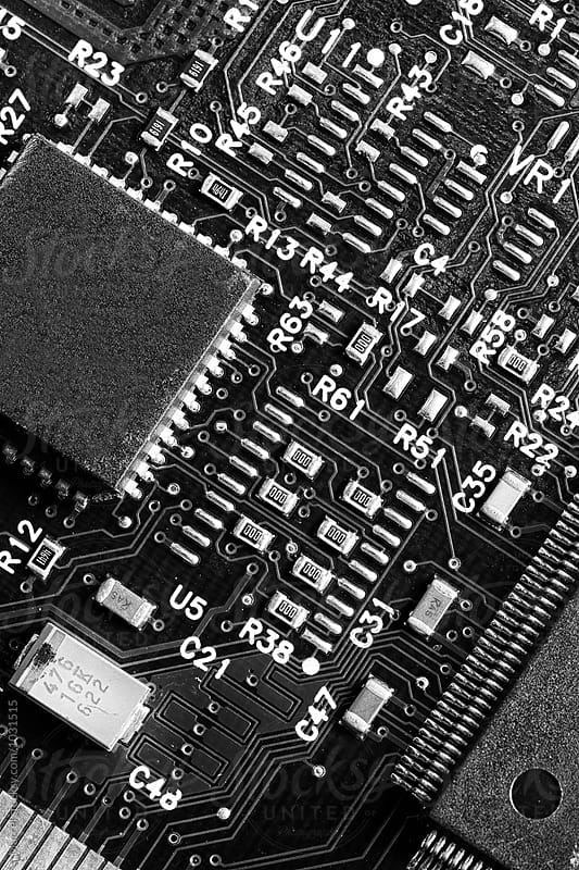 Computer motherboard in b&w by Marcel for Stocksy United