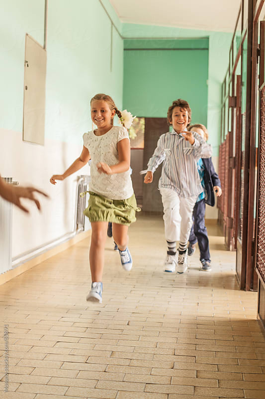 Kids Running Down the School Hallway by Mosuno for Stocksy United