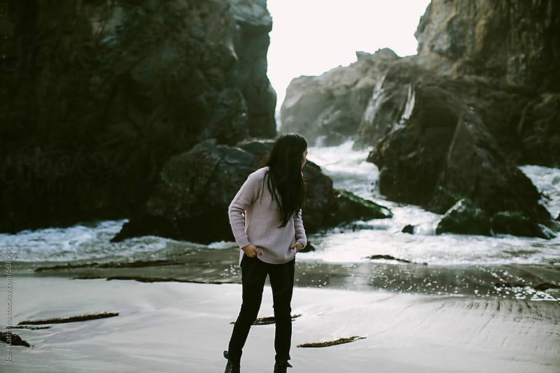 girl exploring pfeiffer beach by Joe+Kathrina for Stocksy United