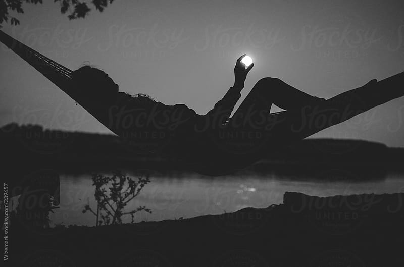 River Camping Under Full Moon Silhouette Of A Girl In The