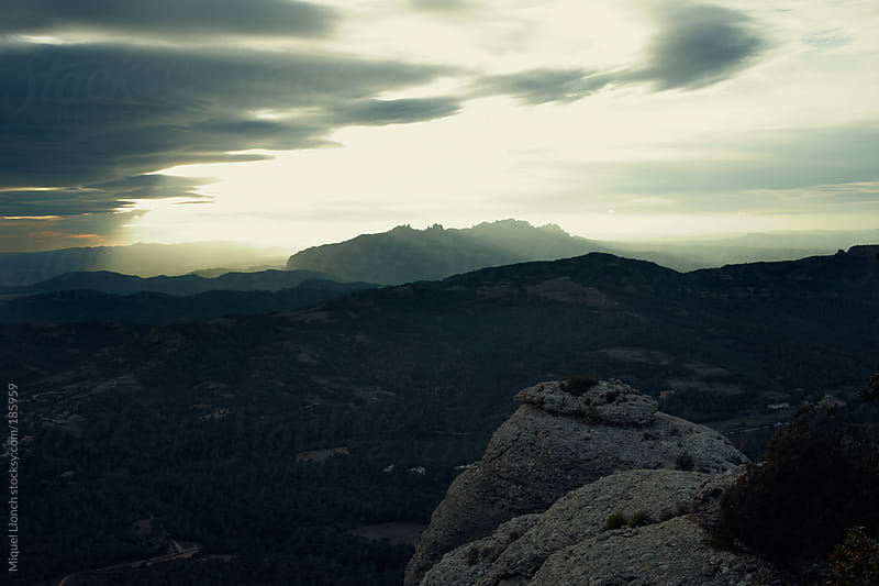Sunset at Montserrat mountain by Miquel Llonch for Stocksy United