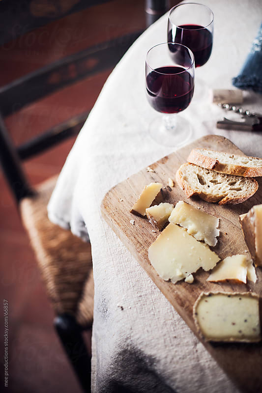 Mediterranean diet, cheese and wine. by mee productions for Stocksy United