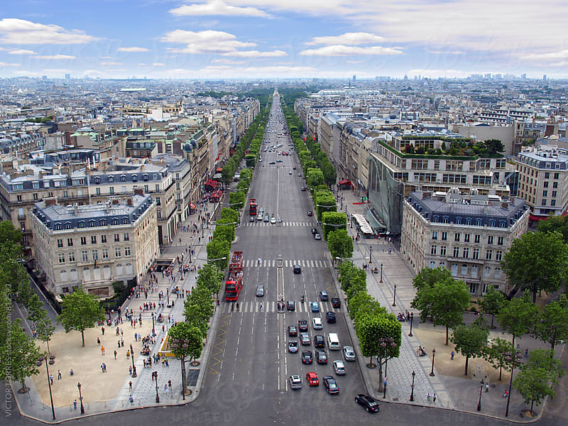 Paris Streets from the Arc de Triomphe by VICTOR TORRES for Stocksy United