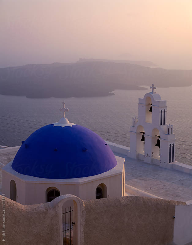 Church overlooking the Mediterranean. Santorini Island. by Hugh Sitton for Stocksy United
