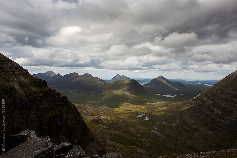 View from a Scottish mountain over a valley by Neil Warburton for Stocksy United