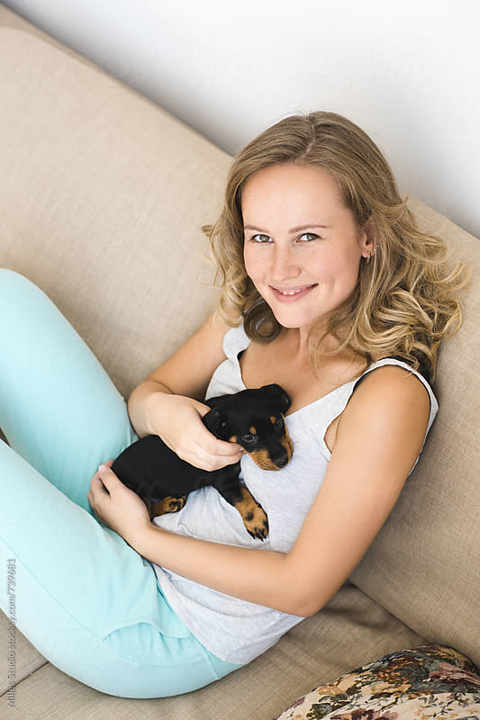 Woman and her dog by Milles Studio for Stocksy United
