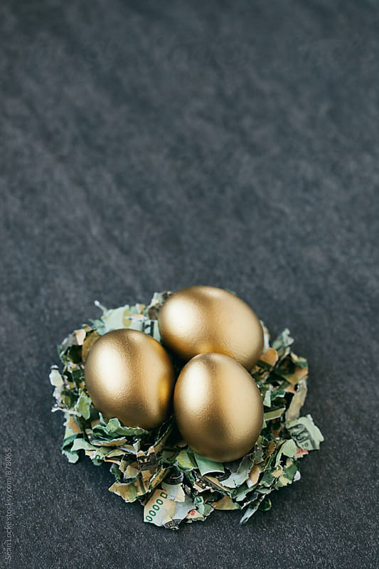 Easter: Three Golden Nest Eggs Concept For Retirement by Sean Locke for Stocksy United