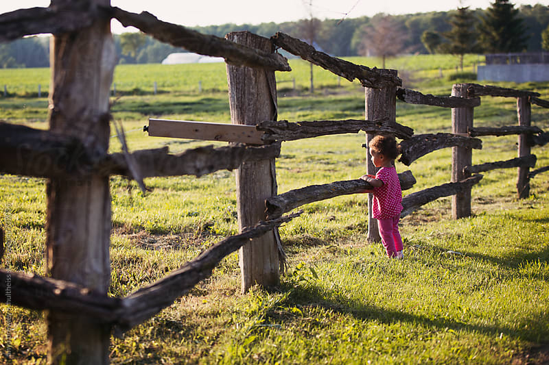 Toddler girl standing and looking past an old farm log fence by anya brewley schultheiss for Stocksy United