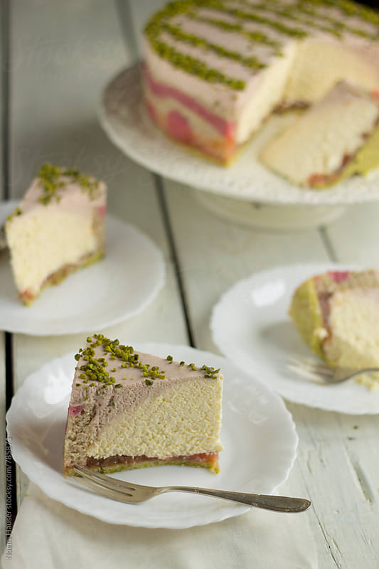 Rhubarb and quark mousse cake by Noemi Hauser for Stocksy United