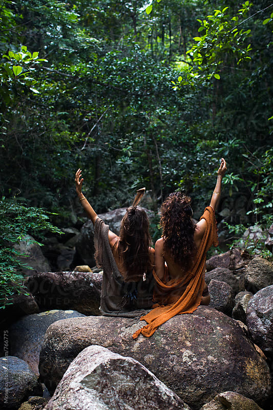 Two Anonymous Hippie Women in the Jungle by Mosuno for Stocksy United