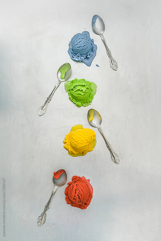 Rainbow Ice Cream and Spoons by suzanne clements for Stocksy United