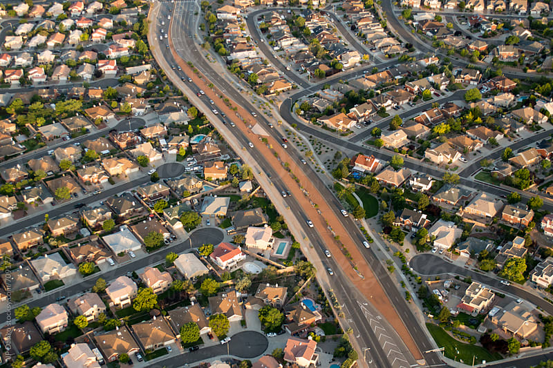 Ariel Photography of Albuquerque New Mexico With Urban Sprawl Subdivision Development Highway by JP Danko for Stocksy United