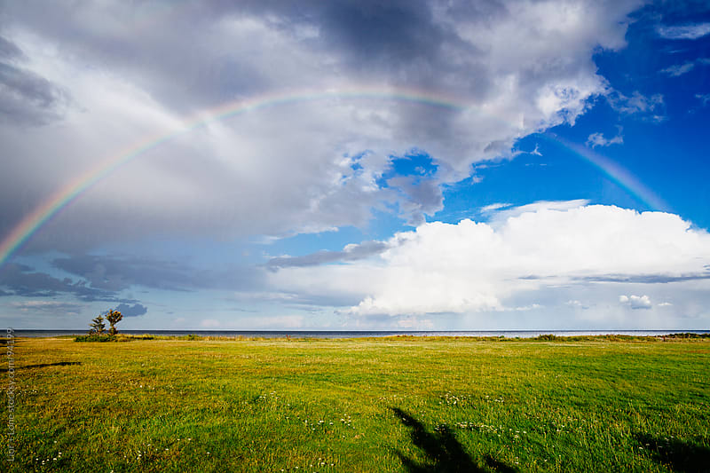 Full rainbow over green meadow by sea by Lior + Lone for Stocksy United