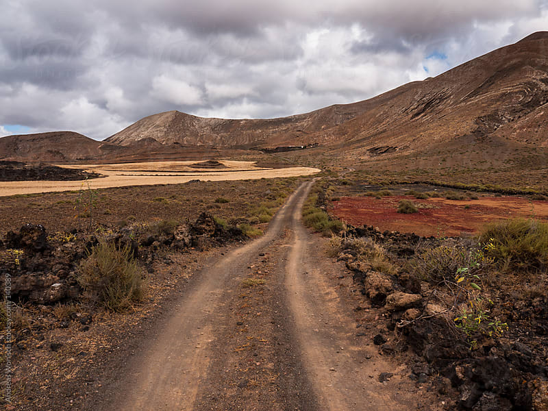 Path leading through Volcanic Landscape in Lanzarote by Andreas Wonisch for Stocksy United