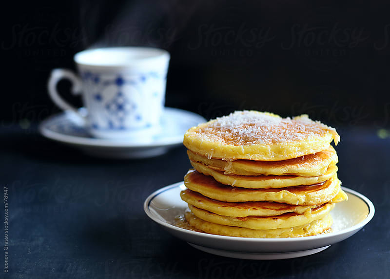 Pancakes and tea by Eleonora Grasso for Stocksy United