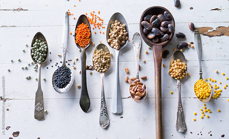 Different spoons with legume family by J.R. PHOTOGRAPHY for Stocksy United