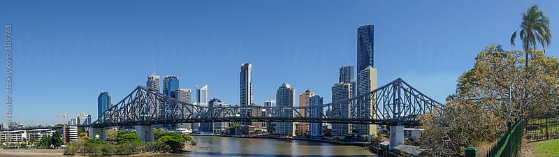 Panoramic View of Brisbane Skyline and Storey Bridge by Rowena Naylor for Stocksy United